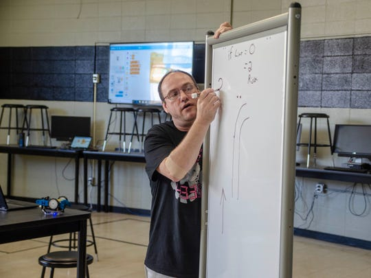 Philip Ryland one of the instructors at the Robotics Summer Camp. Wednesday, July 24, 2019