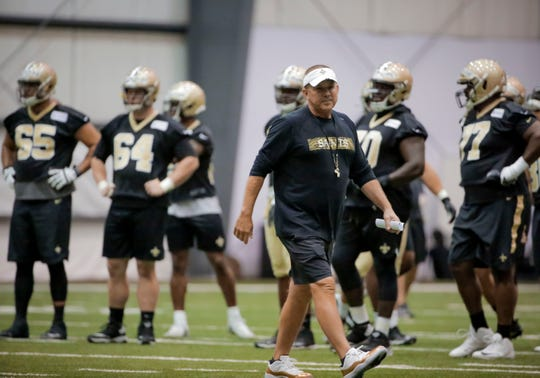New Orleans Saints head coach Sean Payton watches practice during a minicamp session June 11 at the New Orleans Saints Training Facility.