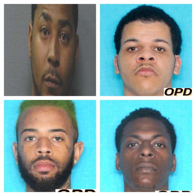 Opelousas police are searching for Charles Espirt (top left) in connection with drug charges. They arrested (from top right to bottom right) Ledayrick Ferguson, Devante Richard and Marcal Weston on drug charges.
