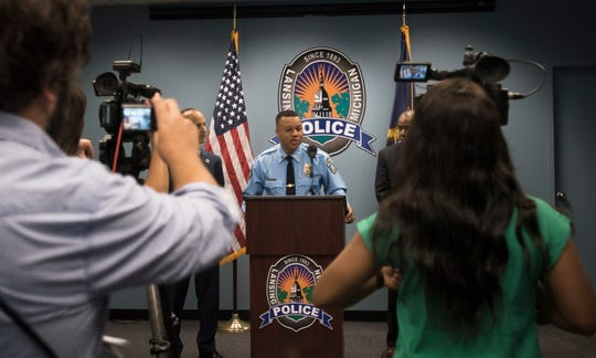 Capt. Daryl Green of the Lansing Police Dept. speaks Wednesday morning, July 24, 2019, during a press conference at LPD headquarters in downtown Lansing. Green will take over as acting chief Aug. 1 following the retirement of Mike Yankowski.  Lansing's Board of Police Commissioners is expected to review the mayor's recommendation Aug. 20 before taking action on whether to approve Green officially as chief.