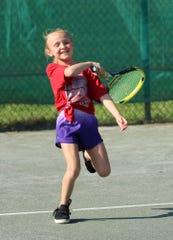 It's obvious from the look on her face that Annie Hamilton, 7, loved playing in the girls 10 singles final of the 86th News Journal/Richland Bank Tennis Tournament at Lakewood Racquet Club