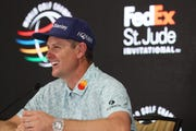 Justin Rose talks to the media at the WGC-FedEx St. Jude Invitational at TPC Southwind on Wednesday, July 24, 2019.