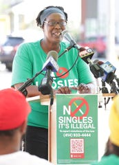 Lorraine Lathen, director of the Wisconsin African American Tobacco Prevention Network, speaks during a news conference on an initiative to increase awareness on problems associated with the illegal sale of single cigarettes, known as loosies, on Wednesday, July 24, 2019.
