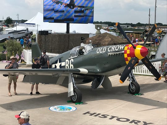 A P-51 painted like the one flown by American triple ace Bud Anderson during World War II is on display at EAA AirVenture in Oshkosh.