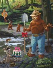 A poster celebrates Smokey Bear's 75th birthday in 2019.