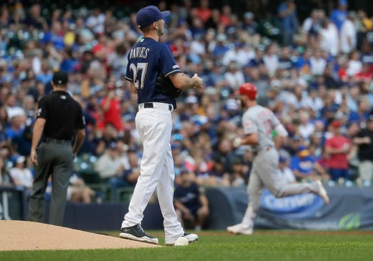 Brewers starting pitcher Zach Davies waits for the Jesse Winker to round the bases after he hit the Reds' second two-run homer in the first inning.