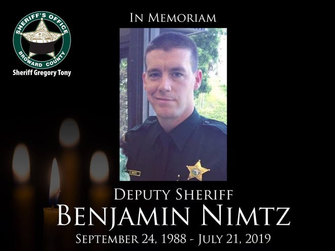 The Broward Sheriff's Office in Florida posted this image and memoriam on its Facebook page to honor Benjamin Nimtz, a former Waukesha man who killed in an on-duty car crash while serving as a BSO deputy on July 21.