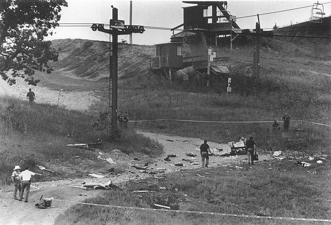The site where Stevie Ray Vaughan's helicopter crashed August 27, 1990, killing him and four others. Vaughan had just finished playing at Alpine Valley with Eric Clapton.