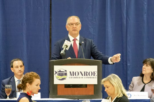 Gov. Edwards addressed the Monroe Chamber of Commerce during the State of the State luncheon at the Monroe Civic Center on July 24.