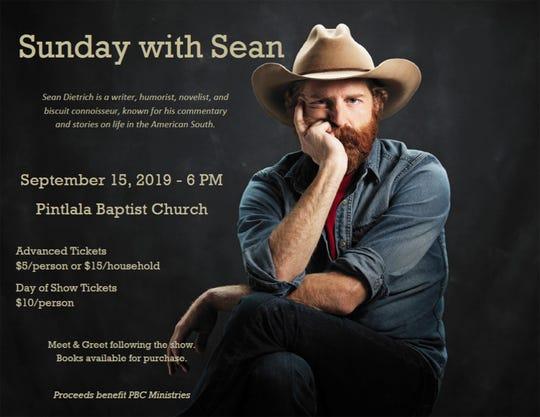 Sean Dietrick is speaking at Pintlala Baptist Church on Sept. 15.