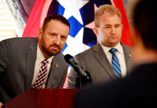 Williamson County Republican Rep. Brandon Ogles, left, has introduced two bills this session related to sexual assault.