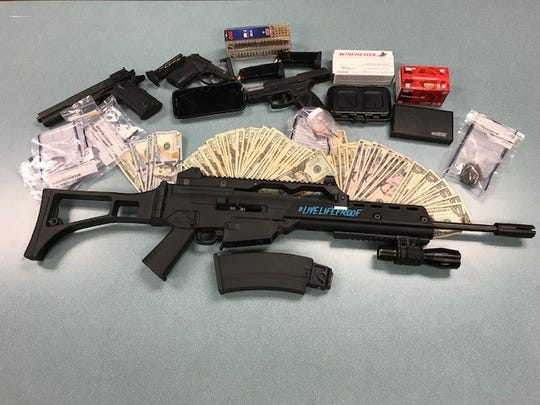 Drugs and guns were seized by the Robertson County Sheriff's Office during a traffic stop on Tuesday, July 23, 2019.