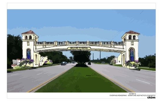 View a rendering from the Pedestrian Bridge Crossing Feasibility Study.