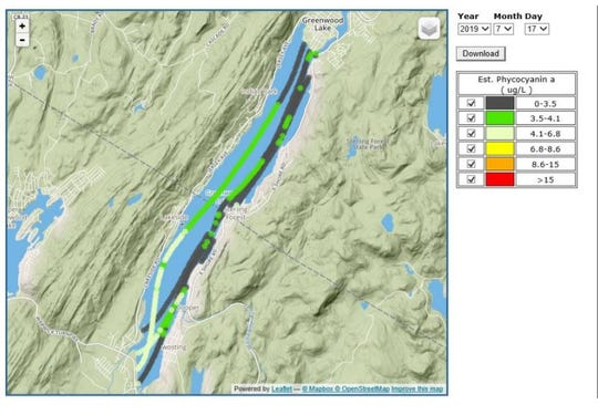 The New Jersey Department of Environmental Protection July 17, 2019 flight over Greenwood Lake detected lake-wide cyanobacteria distribution, with the highest levels being detected in the New Jersey side of the lake.