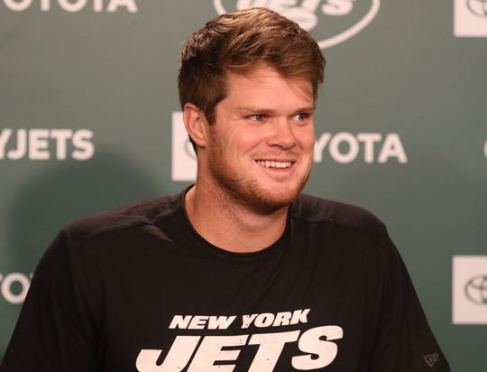 NY Jets quarterback Sam Darnold addressing the media on July 23, 2019 at the NY Jets Atlantic Health Training Center. The Jets players arrived before tomorrow's first practice of training camp.