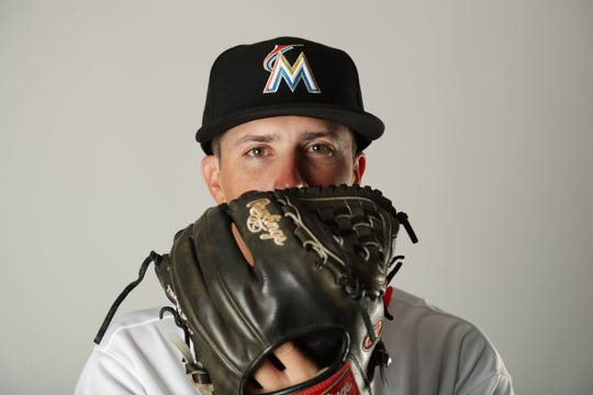 Chris Mazza #89 of the Miami Marlins poses for a portrait at The Ballpark of the Palm Beaches on February 22, 2018 in Jupiter, Florida.