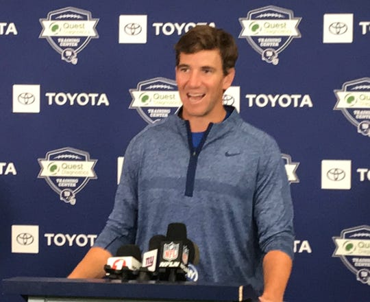 Giants quarterback Eli Manning reported for training camp Wednesday to begin his 16th season, the most for any player to wear the team's uniform in franchise history.