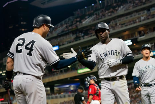 July 23, 2019; Minneapolis, MN, USA; New York Yankees shortstop Didi Gregorius  (18) celebrates his home run in the fifth inning against Minnesota Twins at Target Field. Mandatory Credit: Brad Rempel-USA TODAY Sports