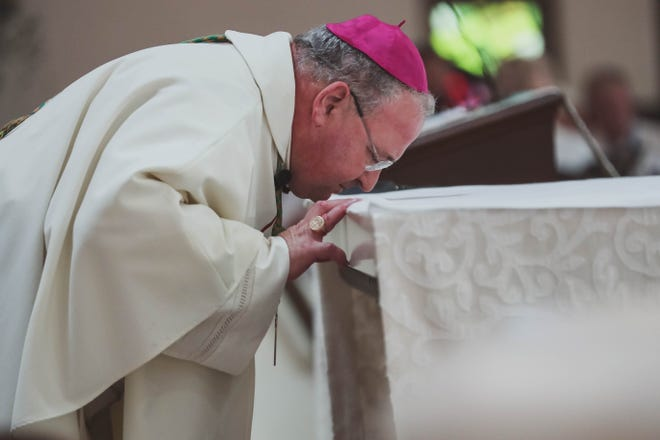 Bishop Peter Baldacchino becomes the third Bishop of the Diocese of Las Cruces at the Immaculate Heart of Mary Cathedral in Las Cruces on Tuesday, July 23, 2019.