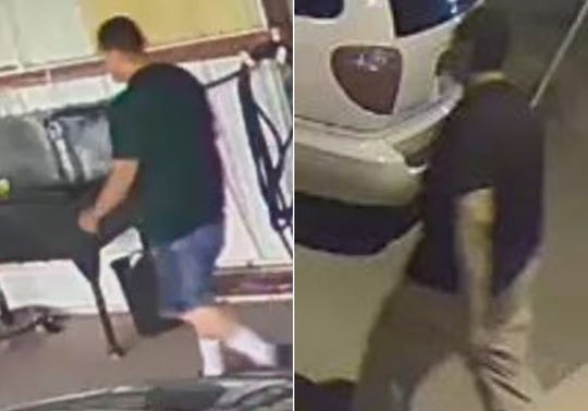 Las Cruces Crime Stoppers is offering a reward of up to $1,000 for information that helps identify the man suspected of stealing tools and equipment from Cruces Auto in late June.