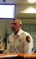 Alamogordo Fire Chief Jim LeClair speaks at the Alamogordo City Commission meeting June 23.