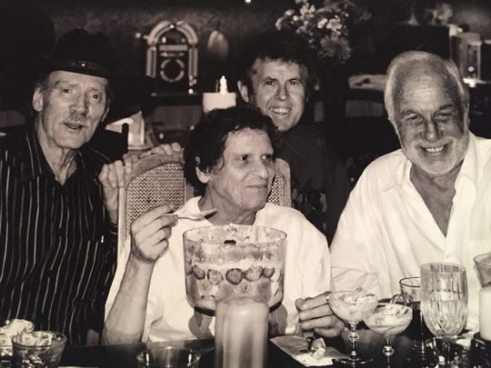 From left, late actor and Lenny Bruce friend Teddy Markland, Paul Krassner, Bruce Fessier and tennis pro Tommy Tucker at a 2009 party at the Fessier home.