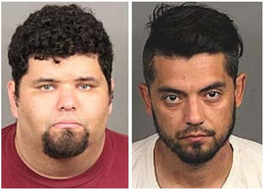 Richard Otis, 30, of Palm Desert, left, and Christian Nevarez, 35, of Indio, were arrested Tuesday, July 23, 2019, on charges related to scores of mail thefts in the Coachella Valley.