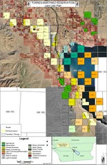 A map on the Torres Martinez Desert Cahuilla Indians website shows the tribe's reservation.