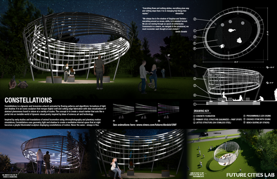 "Designed by San Francisco-based Future Cities Lab, ""Constellations"" offers an illuminated, in-motion design. The sculpture is expected to undergo installation later this fall."