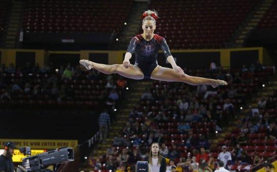 Utah's MyKayla Skinner competes during their NCAA gymnastics meet against Arizona State University Saturday, Feb. 25, 2017 in Tempe, Ariz.