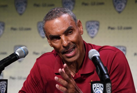 Arizona State Sun Devils coach Herm Edwards during Pac-12 football media day on July 24 in Los Angeles. Mandatory Credit: Kirby Lee-USA TODAY Sports