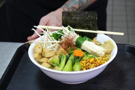 A bowl of vegan ramen at Bubble Noodle in Mesa.