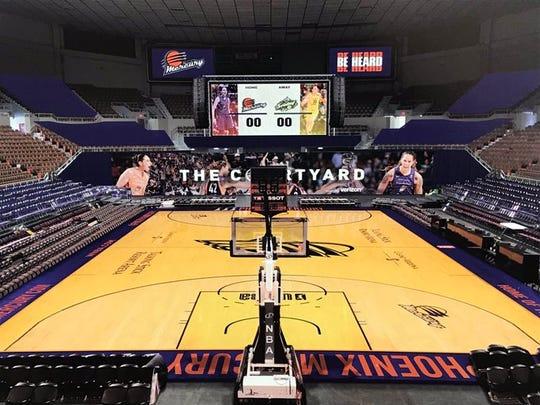 Así lucirá la duela del Coliseo para los juegos de las Phoenix Mercury de la WNBA.