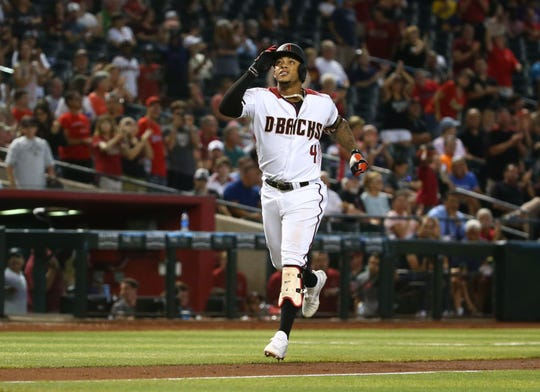 Arizona Diamondbacks Ketel Marte hits a home run against the Baltimore Orioles in the sixth inning at Chase Field on July 24, 2019 in Phoenix, Ariz.