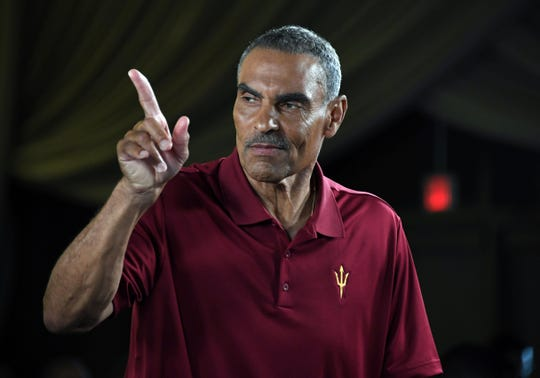 Arizona State coach Herm Edwards during Pac-12 football media day on July 24 in Los Angeles. Mandatory Credit: Kirby Lee-USA TODAY Sports