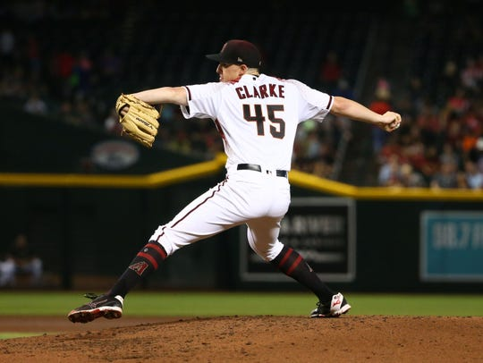 Arizona Diamondbacks pitcher Taylor Clarke throws to the Baltimore Orioles in the fourth inning at Chase Field on July 24, 2019 in Phoenix, Ariz.