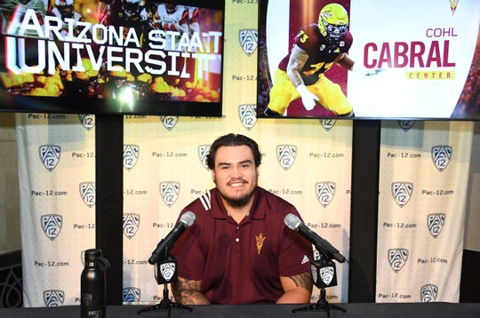 Arizona State Sun Devils center Cohl Cabral during Pac-12 football media day on July 24 in Los Angeles. Mandatory Credit: Kirby Lee-USA TODAY Sports