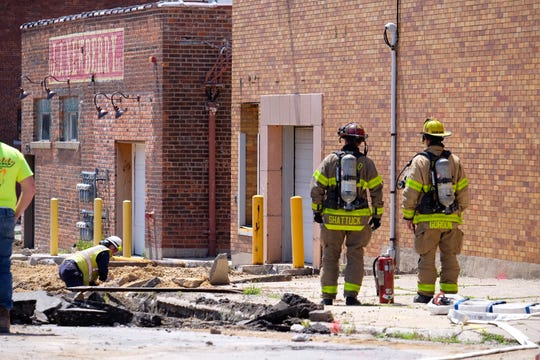 Firefighters respond to a gas leak in downtown Port Huron Wednesday.