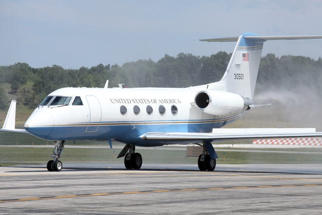 Dutchess Community College and Dutchess County officials welcomed a Gulfstream G3 that previously served as Air Force One to Hudson Valley Regional Airport on Wednesday.