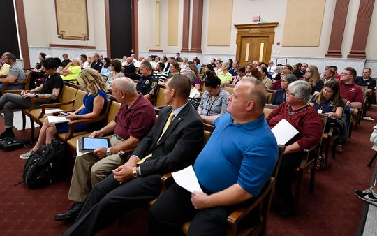 The York County Commissioners hear a report from IXP Corp. who recently completed a 911 Center audit, Wednesday, July 24, 2019.John A. Pavoncello photo