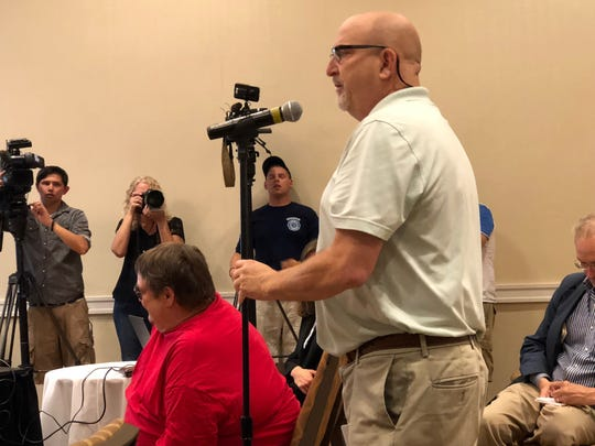 Eric Epstein, chairmain of ant-nuclear watchdog group TMI-Alert speaks at a public meeting on the decommissioning of Dauphin County nuclear plant Three Mile Island on Tuesday, July 23.