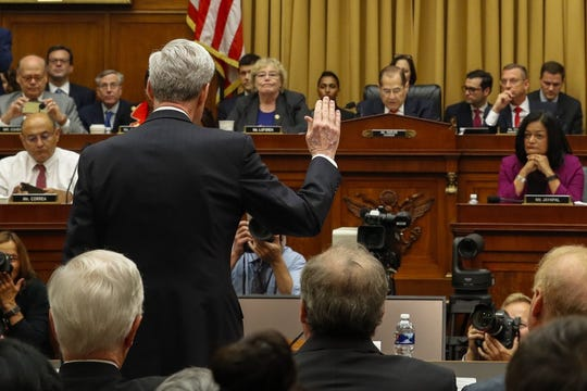 Former special counsel Robert Mueller is sworn in by House Judiciary Committee Chairman Jerrold Nadler, D-N.Y., to testify before the House Judiciary Committee hearing on his report on Russian election interference, on Capitol Hill, Wednesday, July 24, 2019 in Washington. (Photo by Alex Brandon)