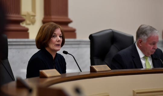 York County President Commissioner Susan Byrnes announces that the commissioners will not make a motion on any action concerning a report from IXP Corp. who recently completed a 911 Center audit, Wednesday, July 24, 2019.