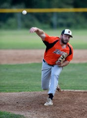 Trevor Farrell delivers for Stoverstown against Glen Rock, Tuesday, July 23, 2019. John A. Pavoncello photo