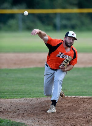 Trevor Farrell delivers for Stoverstown against Glen Rock, Tuesday, July 23, 2019. 
