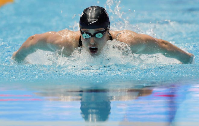 American Hali Flickinger, a Spring Grove High School graduate, swims in a women's 200-meter butterfly semifinal at the World Swimming Championships in Gwangju, South Korea, on Wednesday. Flickinger earned the top seed for Thursday's final. (AP Photo/Lee Jin-man)