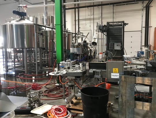 The bottling line at the new Lead Dog Brewing Co. taproom and brewery in Sparks.