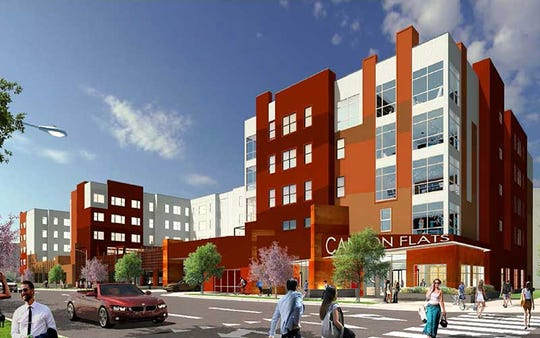 A rendering shows Canyon Flats, downtown Reno's first student housing complex.