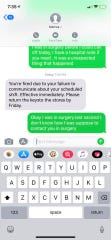 A text exchange between Jessica Starwald and a manager at GlowGolf.