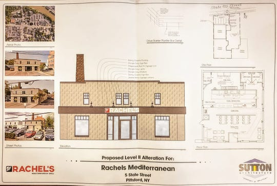Plans for Rachel's Mediterranean in Pittsford Village.